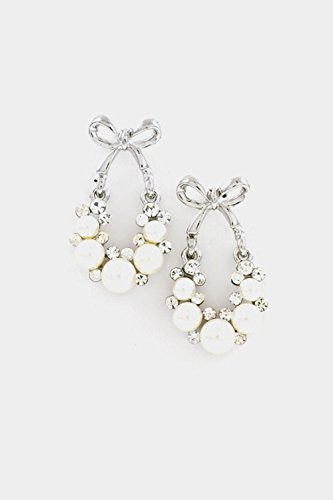 Stick On Baby Bows (Trendy Fashion Jewelry Bow Top with Rhinestones and Pearls Frame Earring By Fashion Destination | (Rhodium/Cream))