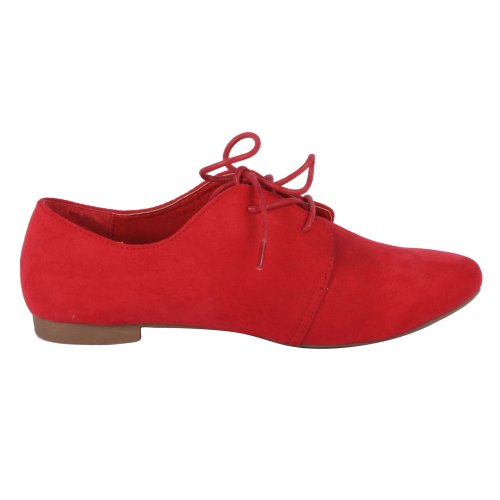 ANNA OX-1 Women's Mid Top Lace Up Flat Bottom Oxford, Color:RED, Size:7.5