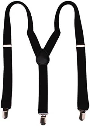 Mens Women Adjustable Y Shape Solid Black Elastic Suspenders