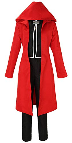 Yunbei Fullmetal Alchemist Halloween Costume Edward Elric Cosplay Red Full Suit (XL, Red)]()