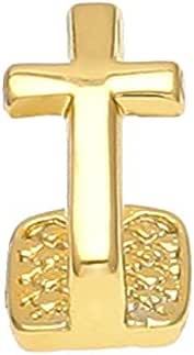 The Bling Factory 24K Gold Plated Cross Removable Single Tooth Grill Cap + Polishing Cloth
