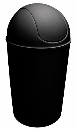 Dial Industries Waste Bin with Swing Lid, 14 Gallon, Black (Wastebasket Metal Industries)
