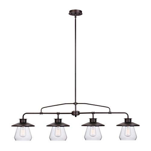 Globe Electric Angelina 4-Light Industrial Vintage Pendant, Clear Glass Shades, Oil Rubbed Bronze Finish, 65382 by Globe Electric