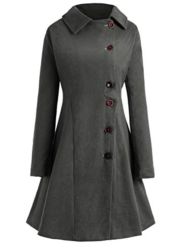 KCatsy Plus Size Buttoned Long Coat Grey ()
