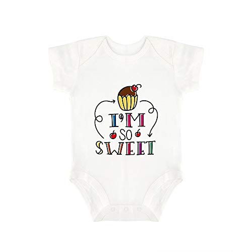 (Promini Cute Baby Onesie Im So Sweet Baby Bodysuit Infant One Piece Baby Romper Best Gift for Baby White)