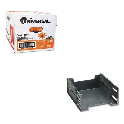 KITRUB17671UNV21200 - Value Kit - Rubbermaid Stackable High Capacity Front Load Letter Tray (RUB17671) and Universal Copy Paper (UNV21200)