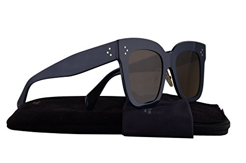 Celine CL41444/S Sunglasses Blue w/Brown Lens 51mm 07GQS CL41444S CL - Celine Square Aviators