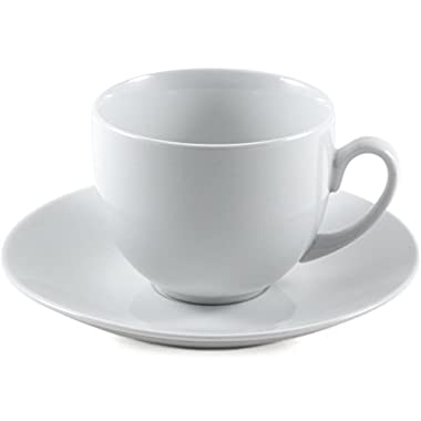 Coupe White Porcelain Cup and Saucer Set, Service for 6