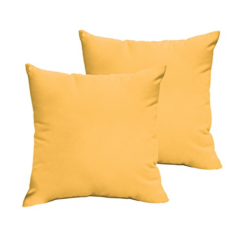 1101Design Sunbrella Sunflower Yellow Knife Edge Decorative Indoor/Outdoor Square Throw Pillows, Perfect for Patio Décor - Sunflower Yellow 20