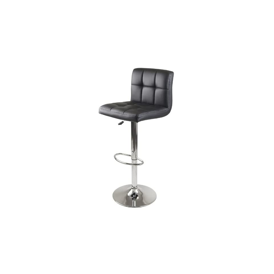 Winsome Stockholm Air Lift Stool, Swivel Square Grid Faux Leather Seat, Black