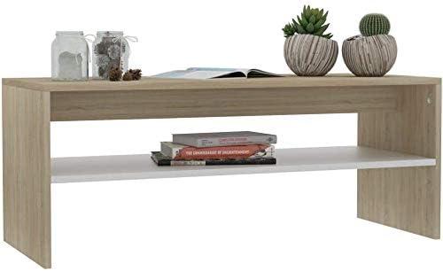 Bianco e Rovere Sonoma EBTOOLS Tavolino da caff/è Tavolino da Salotto Tavolino da Soggiorno in Stile Scandinavo 100 x 40 x 40 cm