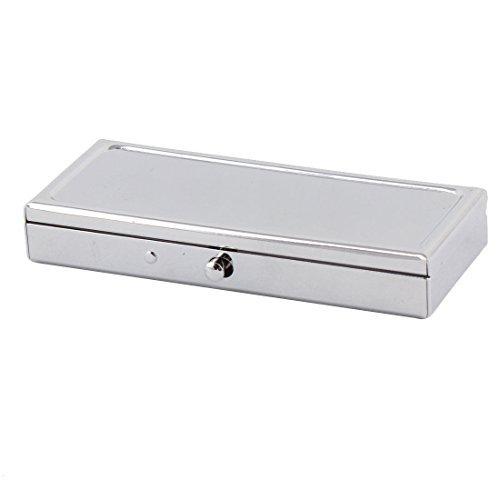 eDealMax metallo rettangolo 2 Griglia Specchio d'umidit Medicina pillola titolare Storage Box 86 x 36 x 14 millimetri tono argento