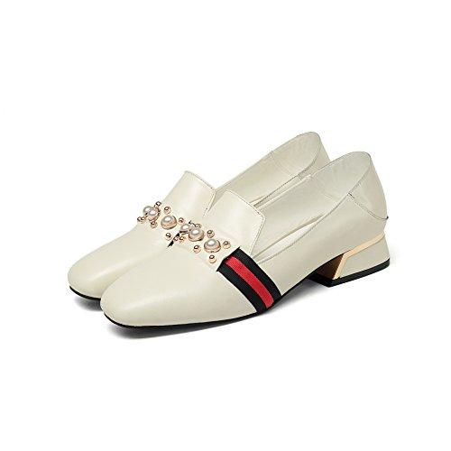 Peu CXQ carré Bloc Bouche White Talons QIN Chaussures Femme Tête amp;X Rice Profond pqHYwp