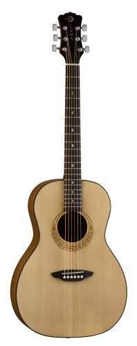 Luna Gypsy Parlor Student Guitar with Built-In Tuner (Xmas Almost Acoustic)