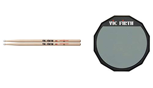 "Vic Firth American Classic 5B Nylon Tip Drumsticks with Vic Firth Single-sided 6"" Practice Pad"