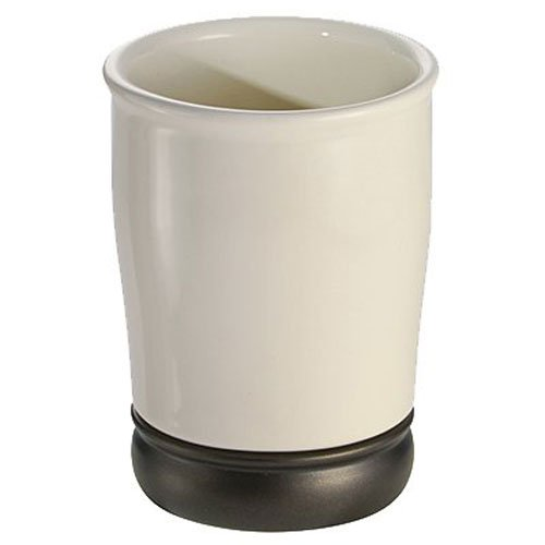 InterDesign York Ceramic Tumbler Cup for Bathroom Vanity Countertops - Vanilla/Bronze ()