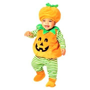Infant Pumpkin Halloween Costume Includes Vest, Hat, Shirt, Leggings and Booties 6-12m -