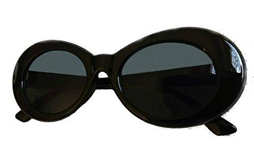 Bold Clout Goggles - UV400 for Eye Protection Black Pair of Kurt Cobain Inspired Retro Mod Style Oval Sunglasses w/ Dark Lenses for Men & - For Glasses Popular Guys