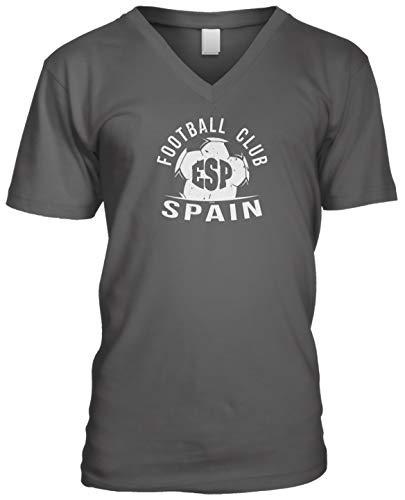 (Blittzen Mens V-Neck Football Club ESP Spain, L, Charcoal)