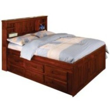 Discovery World Furniture Merlot Bookcase Captains Bed Full With 6 Drawer Storage (6 on ONE (Bed Captain Storage)