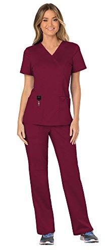 Cherokee Workwear Revolution Women's Medical Uniforms Scrubs Set Bundle - WW610 Mock Wrap Scrub Top & WW110 Pull On Scrub Pants & MS Badge Reel (Wine - Medium/Small)
