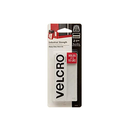 VELCRO Brand Industrial Fasteners Stick-On Adhesive   Professional Grade Heavy Duty Strength Holds up to 10 lbs on Smooth Surfaces   Indoor Outdoor Use, 4in x 2in (2pk), Strips, 2 Sets
