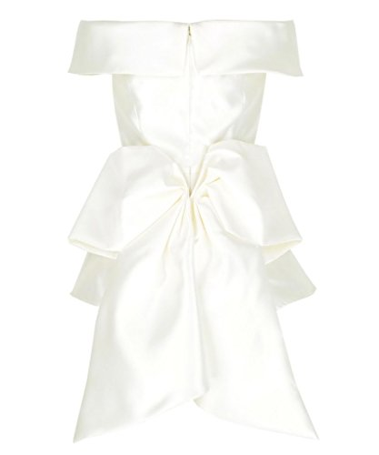 Off Shoulder Taffeta - Get The Looks Satin Bow Back Off-shoulder Peplum Top (6, White)