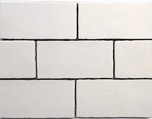 3x6 Biscuit Crackled Glaze Ceramic Tile, Wall Backsplash Decor Kitchen (ONE SF, 8PCS)