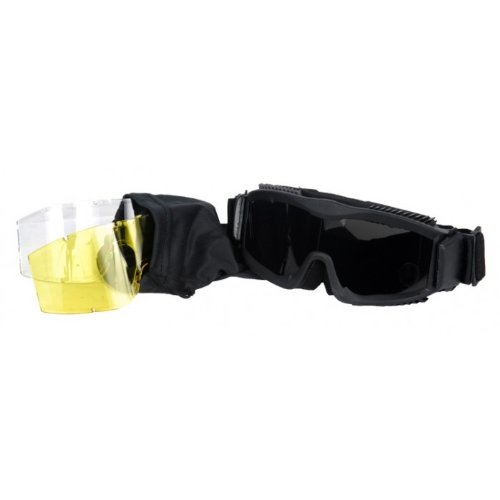 Lancer Tactical CA-223B Vented Safety Airsoft Goggles w/ Interchangeable Multi Lens Kit (Black), Includes Smoked, Clear, & Yellow Lens
