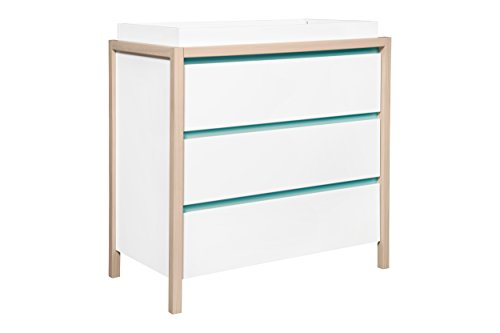 Babyletto Bingo 3-Drawer Changer Dresser, White/Washed Natural/Cool Mint by babyletto