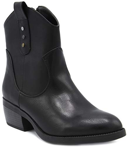 - Rampage Women's Thriller Low Shaft Mid Calf Western Ladies Boot with Side Zip Black 8