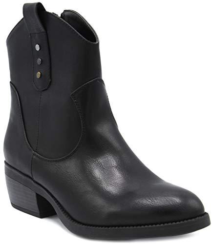 (Rampage Women's Thriller Low Shaft Mid Calf Western Ladies Boot with Side Zip Black)