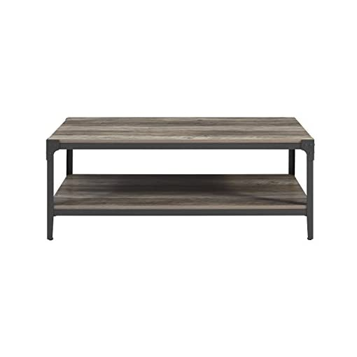 Farmhouse Coffee Tables Walker Edison Declan Urban Industrial Angle Iron and Wood Coffee Table, 46 inch, Grey farmhouse coffee tables