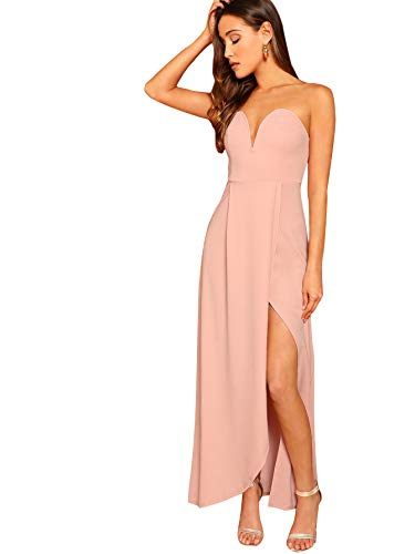Verdusa Women's Bandeau Off Shoulder Flared Party Split Long Dress Pink S
