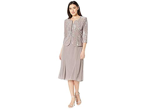 - Alex Evenings Women's Tea Length Mock Dress with Sequin Jacket (Petite and Regular Sizes), Pewter/Frost, 14