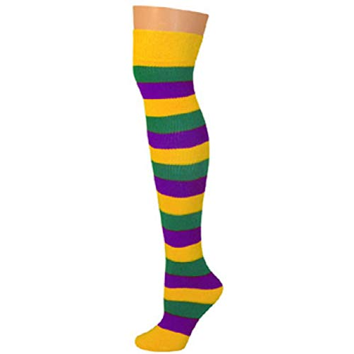 AJs Knee High Striped Socks - Purple/Gold/Kelly