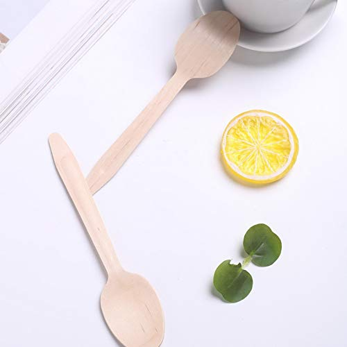 Mikash Disposable Natural Birchwood Spoons Party Wedding Silverware Sale | Model WDDNGDCRTN - 11871 | 600 Pieces ()