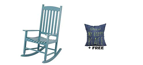 Mainstay` Outdoor Rocking Chair, (Wood Slat, Light Blue + Free ()