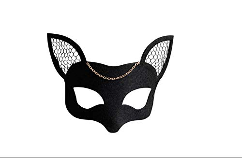 Masquerade Woman Fox Mesh Felt Mask Black Masquerade Dance Cosplay Party Mask Christmas Party Accessories -