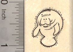 Small Manatee Rubber Stamp