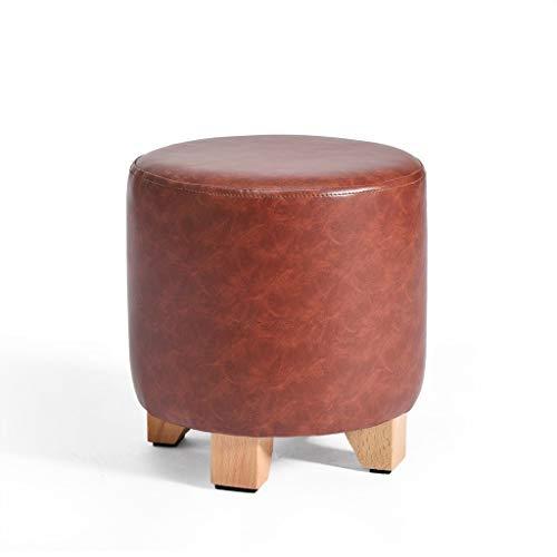 JJXZM Round Wood Support Upholstered Footstool Ottoman Children Stool Dark Red Leather 4 Legs Living Room Sofa Stool