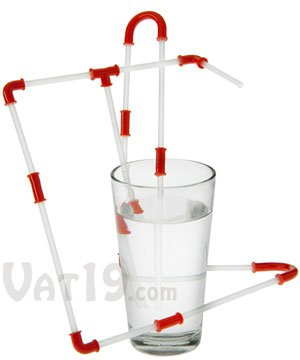 Red Strawz Connectable Build Your Own Straws Construction Kit - Fun Modular Interlocking Educational Toys