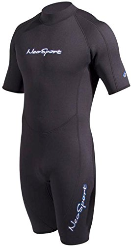 NeoSport Mens Shorty 3 MM Wetsuit - Backzip Surf Suit for Scuba Diving, Snorkeling and Water Sports - Comfortable, Flexible and Anatomical Fit - Internal Key Pocket and Adjustable Collar