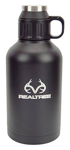 Reduce COLD-1 Realtree Black Stainless Steel Vacuum Insulated 64oz Growler - Keeps Beer and Beverages Cold 48 Hours and Hot for 12! Bring on Vacation, Hiking, Camping, Parties, Tailgating, or BBQ's! - Black Powder Horn Flask
