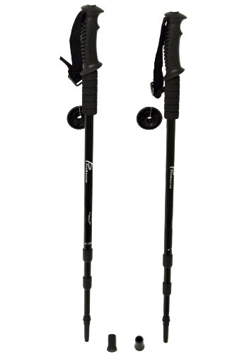 ProSource Anti-Shock Trekking/Hiking/Walking Poles, Adjustable Set of 2 Aluminum Telescopic Poles with Compass and Wrist - Walking Travel Staff Tracks
