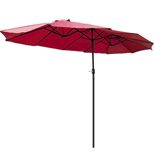 TANGKULA 15 Ft Patio Umbrella Double-Sided Steel Outdoor Market Table Umbrella with Crank (Wine)