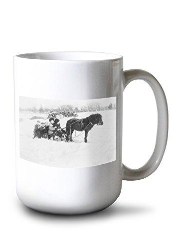 Drawn Sled - Lantern Press Children on Pony Drawn Sled Photograph (15oz White Ceramic Mug)