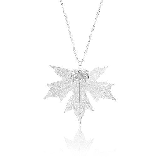 (BOUTIQUELOVIN Women's Real Natural Filigree Leaf Long Pendant Necklace Trendy Bohemian Jewelry (B.Silver Maple Necklace))