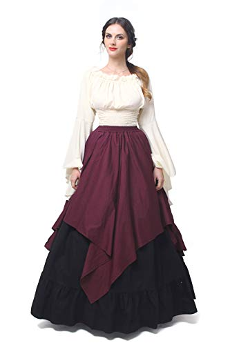 (Womens Medieval Victorian Costume Dress Renaissance Asymmetric Fancy Dresses (X-Large, Wine Red)