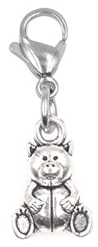 ! Teddy Bear Clip on Charm Perfect for Necklaces and Bracelets 97Ah ()